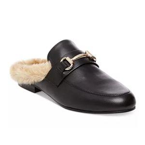 Steve Madden Jill loafer slide fur mules black 6.5